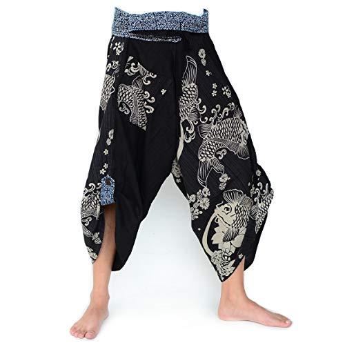 SHC Samuraihose Herren Damen Yogahose Haremshose japanische Wickelhose aus 100% Baumwolle