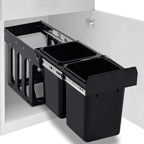 Extaum Cubo de Basura para Reciclaje Extraíble Cierre Suave Negro 20 L, 47 X 25 X 35, Cm para Armarios de Cocina