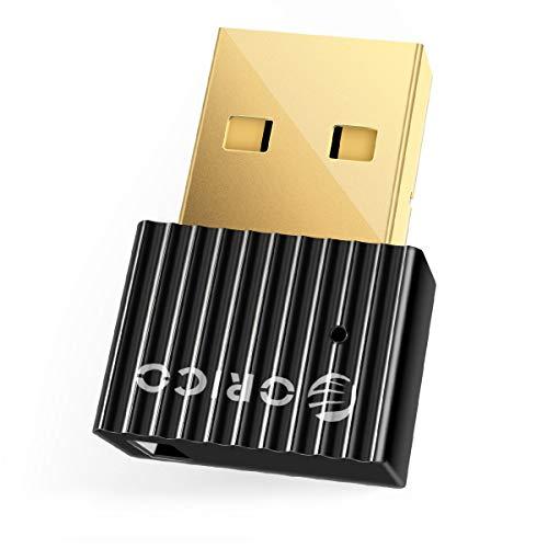 ORICO Bluetooth Adapter USB 5.0, Mini Wireless Dongle Unterstützung PC Laptop Windows 10/8/7 System für Bluetooth Kopfhörer, Tastatur, Maus, Lautsprecher, Xbox Game Controller-Schwarz (Need Drive)