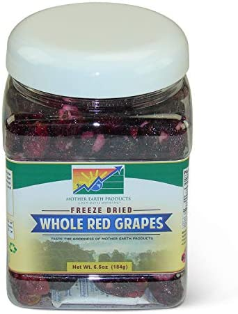 Mother Earth Products Freeze Dried Whole Red Grapes Quart Jar 5oz product image