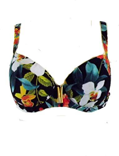 Promise Damen Bikini mit Bügel, C-Cup, Schwarz mit Blumenmuster, S3411, Schwarz 80C