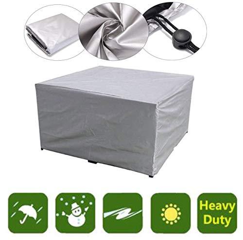XGWML - Funda para muebles de jardín, rectangular, grande, fibra de poliéster, rectangular, impermeable, resistente al viento, protección UV, cubierta de mesa de jardín (126 x 126 x 74 cm)
