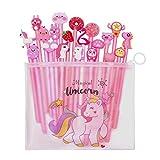 Yuccer Einhorn Stift Set Federmäppchen Flamingo Kugelschreiber Süße Stifte Tiere Gelstifte Set Kinder Schreibwaren Süß für Die Schule Geburtstag Überraschung Geschenk 21 Stück (Schwarz)