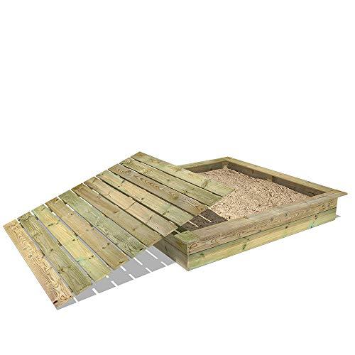 WICKEY Bac à sable King Kong, Sablière en bois pour enfants 195 x 195 cm avec couvercle