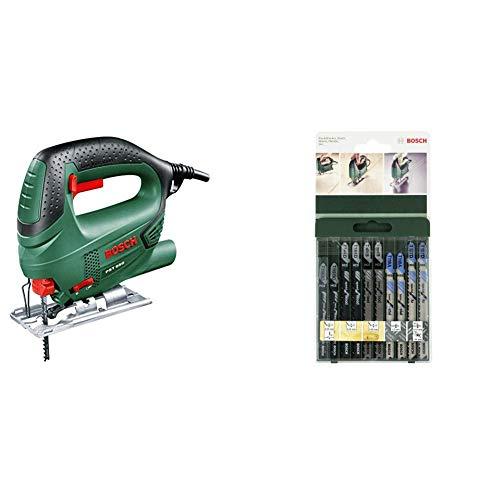 Bosch PST 650 Seghetto Alternativo Compact Easy, Nero/Green + Bosch 2609256746 Set Misto Lame Seghetto Legno e Metallo