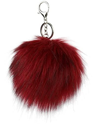 Ever Bloom Schlüsselanhänger Damen mit Bommel, Kunstfell Bommel Taschenanhänger, Pompons Fellbommel Anhänger für Schlüsselbund Auto Schlüssel, maoqiu Farben:Wein Rot