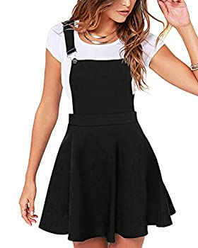 YOINS Overall Pinafore Dresses for Women Adjustable Straps Pleated Mini Cute Suspender Skirts Pinafore Dress-Black XXL