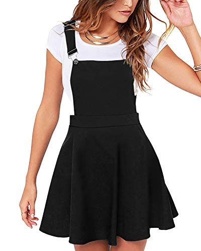 YOINS Women's Casual Suspender Skirts Basic High Waist Flared Solid Mini Skater Skirt Pinafore Dress-Black M