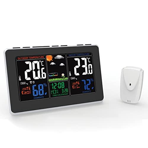 FHISD Estación meteorológica inalámbrica con Sensor Interior al Aire Libre, higrómetro de termómetro Digital con Pantalla LCD Grande, estación de Alarma Digital de la estación de Tiempo Digital LCD
