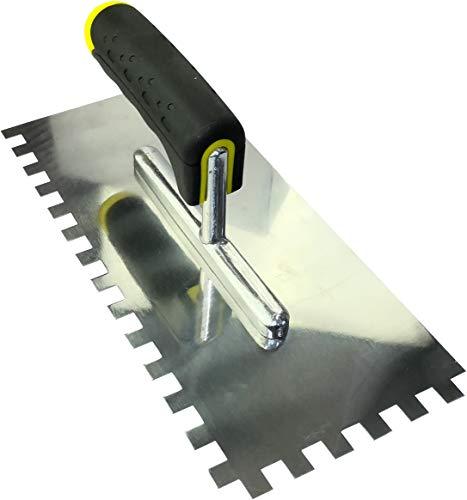 AERZETIX - Cazzuola/Frattone dentato 10x10mm - Cazzuola dentato per piastrelle - Spatola dentata - Utensile manuale per edilizia - Muratura/Gesso - Maniglia bimateriale - Acciaio - C45921