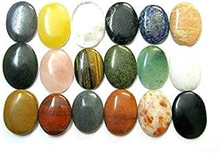 CRYSTALMIRACLE Beautful Set of Sixteen Gemstone Worry Stones Chakra Set Crystal Healing Reiki Gift Thumb Stones Wellness P...