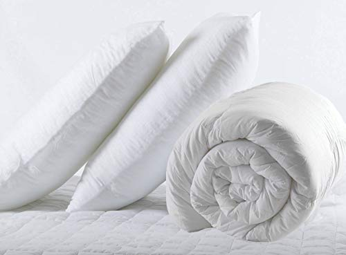 Duvet Pillows Pair Set Double Bed Size 13.5 Tog Quilt Duvet 200x200cm with Pillows Pair Set White Summer Autumn Season Anti Allergy Non Allergenic Hollowfibre Polypropylene Cover Made in Uk