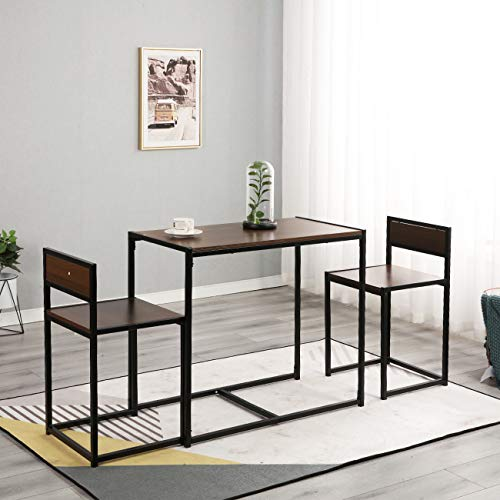 sogesfurniture Retro Dining Table and 2 Chairs Set in Black Metal Frame, Compact Nesting Coffee Table Kitchen Dining Room Furniture, Space Saving, BHEU-LD-CT01WNT