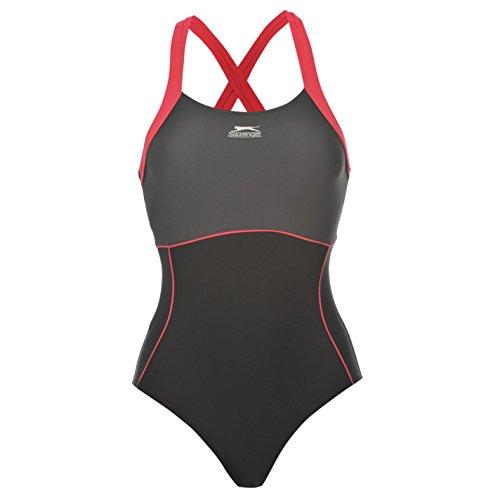 Slazenger Damen X Back Badeanzug Ringerruecken Schwimmanzug Bademode Schwimmen Schwarz 16 (XL)