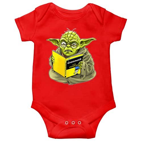 OKIWOKI Star Wars Lustiges Rot Kurzärmeliger Baby-Bodysuit - Yoda - Grammatik für Dummies (Star Wars Parodie signiert Hochwertiges Baby-Bodysuit in Größe 56 - Ref : 707)