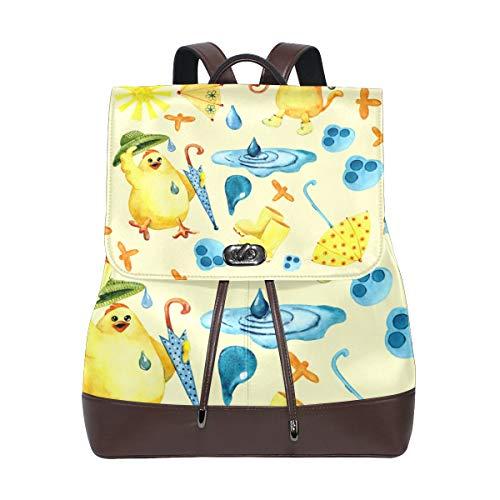 MIGAGA Nahtloses Muster-Aquarell-Zeichnungs-Bild-Katze,PU Leder Rucksack College Chool Rucksack Studenten College Bag Reisen Wandern Camping Taschen