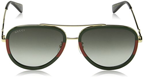 Fashion Shopping Gucci GG0062S 003 Gold/Green GG0062S Pilot Sunglasses Lens Category