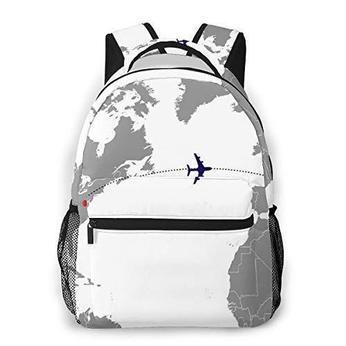Laptop Rucksack Schulrucksack Weltkarte Flugzeug, 14 Zoll Reise Daypack Wasserdicht für Arbeit Business Schule Männer Frauen