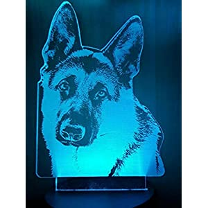 Jinnwell 3D German Shepherd Dog Wolf Night Light Lamp Illusion 7 Color Changing Touch Switch Table Desk Decoration Lamps Gift with Acrylic Flat ABS Base USB Cable Toy (Bus)
