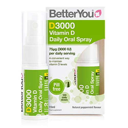 BetterYou D3000 Vitamin D Daily Oral Spray | 3000 IU (75 UG) of Vitamin D3 (Cholecalciferol) | 15 ml (100 Sprays) | Natural Peppermint Flavour | Supports Bones, Teeth and a Healthy Immune System