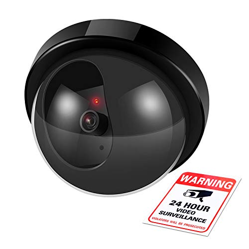 Flexzion Dummy Security Camera Fake Light Lamp Dome CCTV Surveillance Systeem met Waarschuwingsstickers, Knipperende LED, Muur Gemonteerd voor Property Business Home Security Indoor