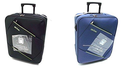 Coppia Trolley Easyjet idonei cm.50x40x20 Trolley Bagaglio a Mano cabina ,Offerta set 2 Trolley Ryanair idoneo cm.55x40x20,2 Trolley Easyjet Clacson misure effettive cm.49x39x19 ((Nero/Blu)