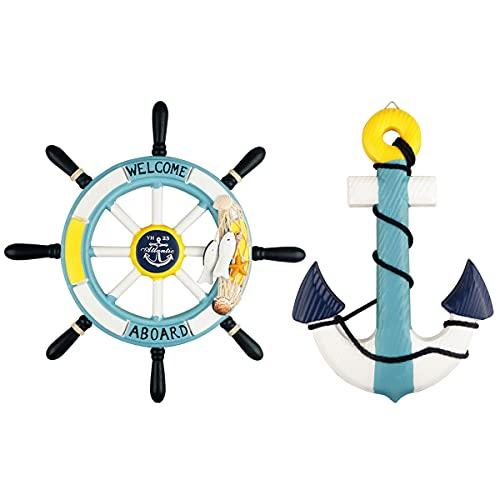 2 Piezas Rueda de barco de madera náutica de 33 cm y Ancla de madera de 33 CM con cuerda timón de dirección de barco náutico decoración de pared adorno colgante para puerta decoración del hogar