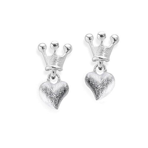 Heartbreaker luxe hartvormige oorstekers met kroon uit de collectie Crown of My Heart in echt zilver, oorbellen 925 sterling nikkelvrij, elegant design hart oorbellen voor dames