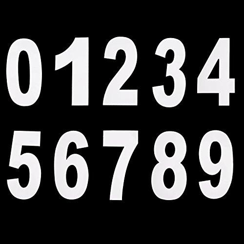 Números 0 a 9 Pegatina de Número de Basurero con Ruedas Números Adhesivos Grandes, 17,5 cm por 9,5 cm, Blanco, 20 Piezas