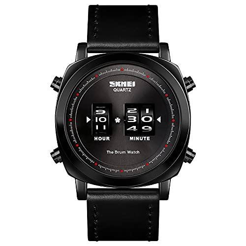 AZPINGPAN Reloj electrónico movimiento rodillo, relojes digitales para hombre, reloj pulsera negocios moda esfera grande, formato 24horas/alarma/cronómetro 12 universos, relojes neutrales impermeables