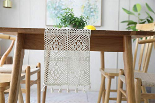 QINHU Pastoral Handmade Crochet Cotton Lengthened Table Runner Flag Cabinet Piano Cover Wedding Decoration Camino De Mesa,Beige,24x220cm
