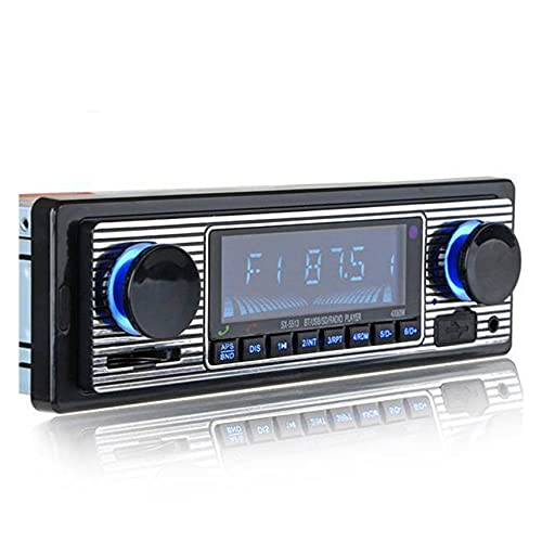 BeizhiyanYH Vintage Classic Bluetooth Car Stereo with FM Radio USB / AUX Port / TF, Car Radio Audio Digital MP3 Player Hands Free Calling with Wireless Remote Control