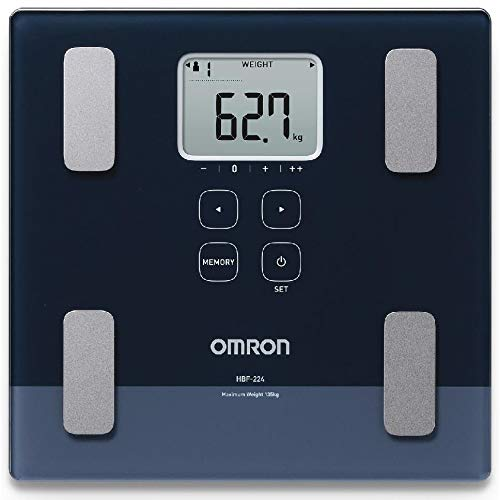 Omron HBF-224 Omron HBF 224 Digital Full Body Composition Monitor with Multiple User & Guest Mode Feature to Monitor BMI, Body Age, Vesceral Fat Level, Body Fat & Skeletal Muscle Percentage (Black)