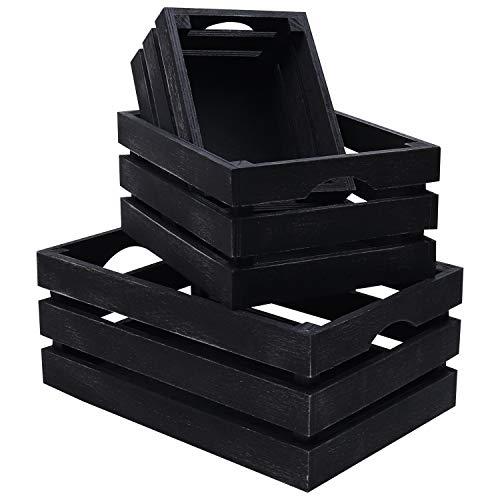 BELLE VOUS Cajon Madera Almacenaje (3 Piezas) Cajas Apilables Madera Negra Cesto para Botellas, Toallas, Frutas, Utensilios, Libros, Regalos, Artículo Maquillaje