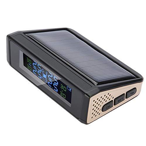Rehomy Sistema de Monitoreo de Presión de Neumáticos de Automóviles Tpms, Alarma de Monitor de Pantalla Lcd de Carga de Energía Solar Inalámbrica con 4 Sensores Externos en...