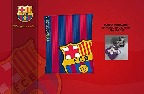 Asditex Manta de Coralina F.C Barcelona 130x160 - Manta de Viaje - Estampado con el Escudo del Barcelona y Sus Colores.