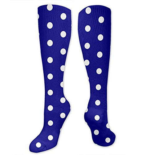 ouyjian White Blue Dots Polka Hexagon Navy.PNG Men's/Women's Sensitive Feet Wide Fit Crew Socks and Cotton Crew Athletic Sock