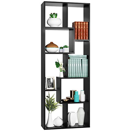 Homfa Bookcase,TV Stand 8-Cube Bookshelf, Free Standing Display Shelves for Books Plants Photo Souvenirs Decor Furniture in Living Room Bedroom Reading Room Library, 63 x 23.6 x 9.4 Inches Black