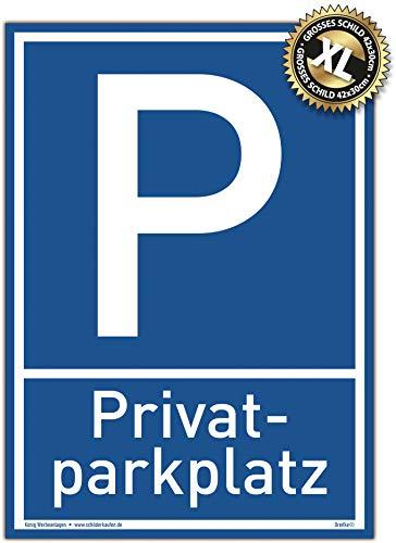 Großes Schild Privat Parkplatz   Alu 30 x 42 cm   stabiles Alu Schild mit UV-Schutz   blau   Privatparkplatz Parken verboten   Dreifke®
