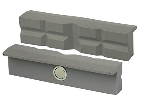 HEUER 108120 Schraubstockbacken / Schutzbacken (rechtwinkelig, planparallel, integrierte Spezialmagnete, passend zu Schraubstock 120 mm, Material: Polyurethan)