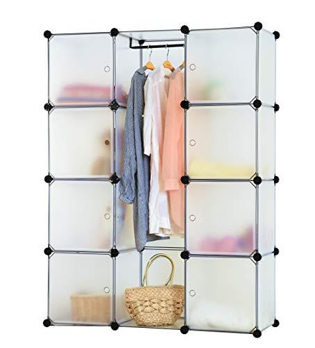 Kronenburg Regalsystem Badregal Steckregal Schrank Regal Kleiderschrank Garderobe 148 x 112 x 37 cm in Transparent
