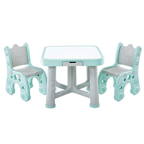 TONGSH Kids Table und 2 Chair Set, Kinder Activity Art Table Set, Starke Tragfähigkeit, geringes Gewicht, Kiddie-Size-Kunststoffmöbel (Color : Green)