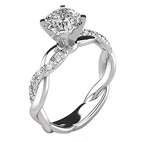 Square Diamond Rings for Women,Jewelry Ladies Engagement Wedding and Eternity Ring Sets,Cubic Zirconia Bridal Set Rings,Hollow out Design Ring,for Girls,Womens (10)