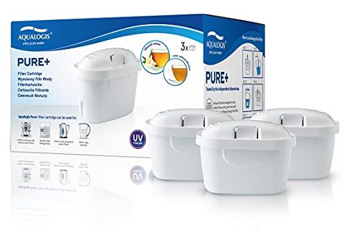 Aqualogis Pure+ Cartuccia per filtro dell'acqua compatibile con Brita Maxtra+ Caraffa Marella, Style, Fun 3 pezzi bianco
