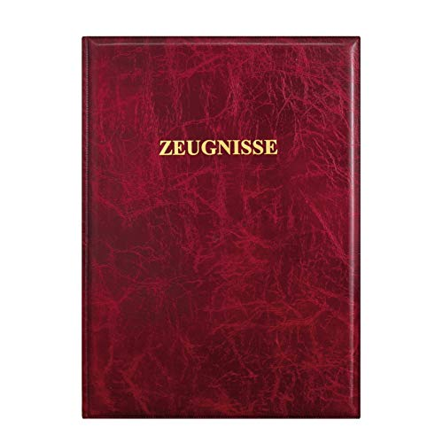 ROTH Zeugnismappe Dunkelrot - mit 12 A4 Klarsichthüllen, dokumentenecht - Dokumentenmappe