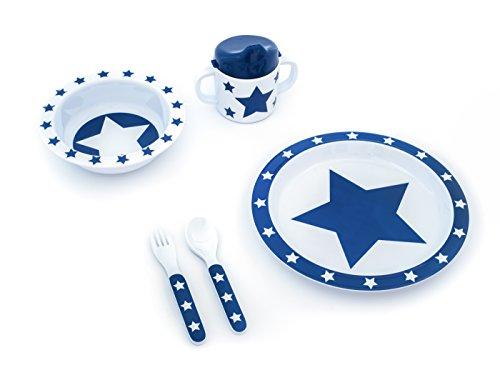 pimpalou 0179991 Melamin Kinder-Geschirr Set Sterne dunkelblau 5-teilig
