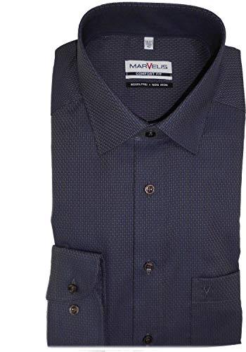 Marvelis Hemd Comfort Fit Marine/braun Gemustert, Kragenweite/Größe:46