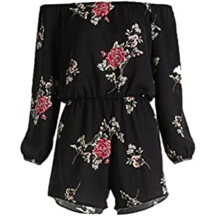 VEMOW Women Jumpsuits Playsuit Ladies Rompers Bodysuit All in One Overalls Loose Cami Harem Oversized Baggy Dungarees Lagenlook Trousers, Off Shoulder Belt Backless Sexy Print Floral (5XL, Black):Peliculas-gratis