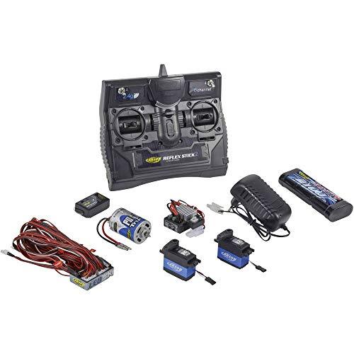 Carson 500501015 500501015-Reflex Stick Truck-Set 2.4G 6 Kanal, Modellbau, 2,4 GHz Fernsteuerung, Empfänger, inkl. Zubehör, Anleitung, schwarz