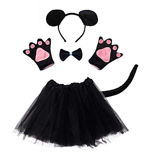 Disfraz de ratn Lot - ratn - para nia - nia - tut - diadema - guantes - pajarita - cola - disfraz accesorios halloween carnaval cosplay - color negro